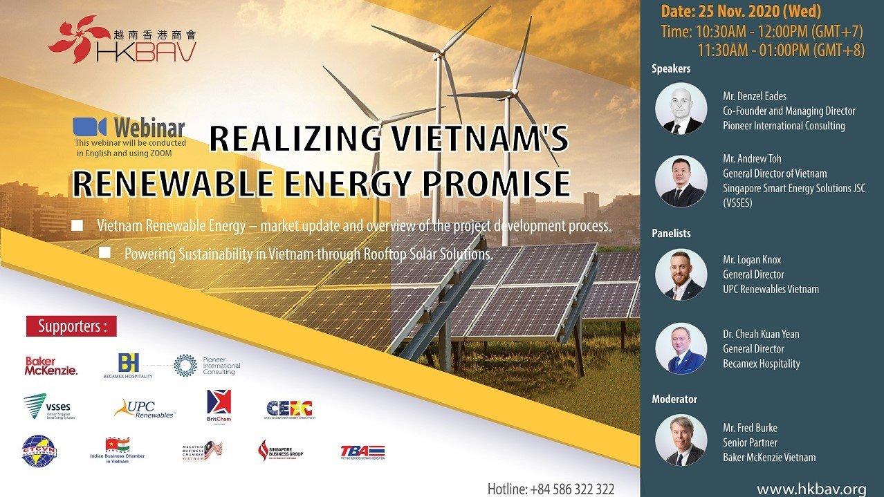 VSSES attended the HKBAV Webinar: Realizing Vietnam's Renewable Energy Promise