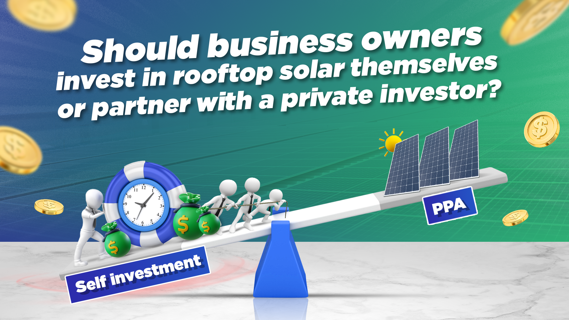 Should business owners invest in rooftop solar themselves or partner with a private investor?